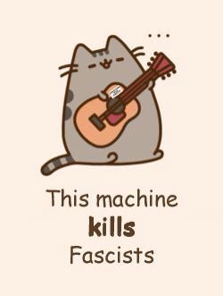 Pusheen the lefty cat channels Woody Guthrie <3