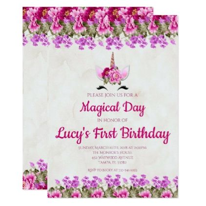 unicorn floral pink girl first 1st birthday party card