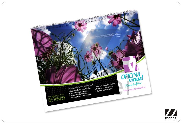 Calendario de pared. Diseño, impresión y troquelado.