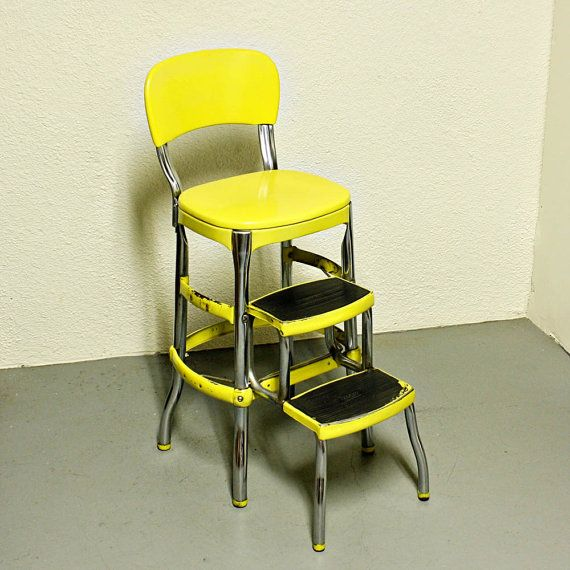 Elegant Vintage Cosco Stool   Step Stool   Kitchen Stool   Chair   Fold Out Steps    Pull Out Steps   Yellow