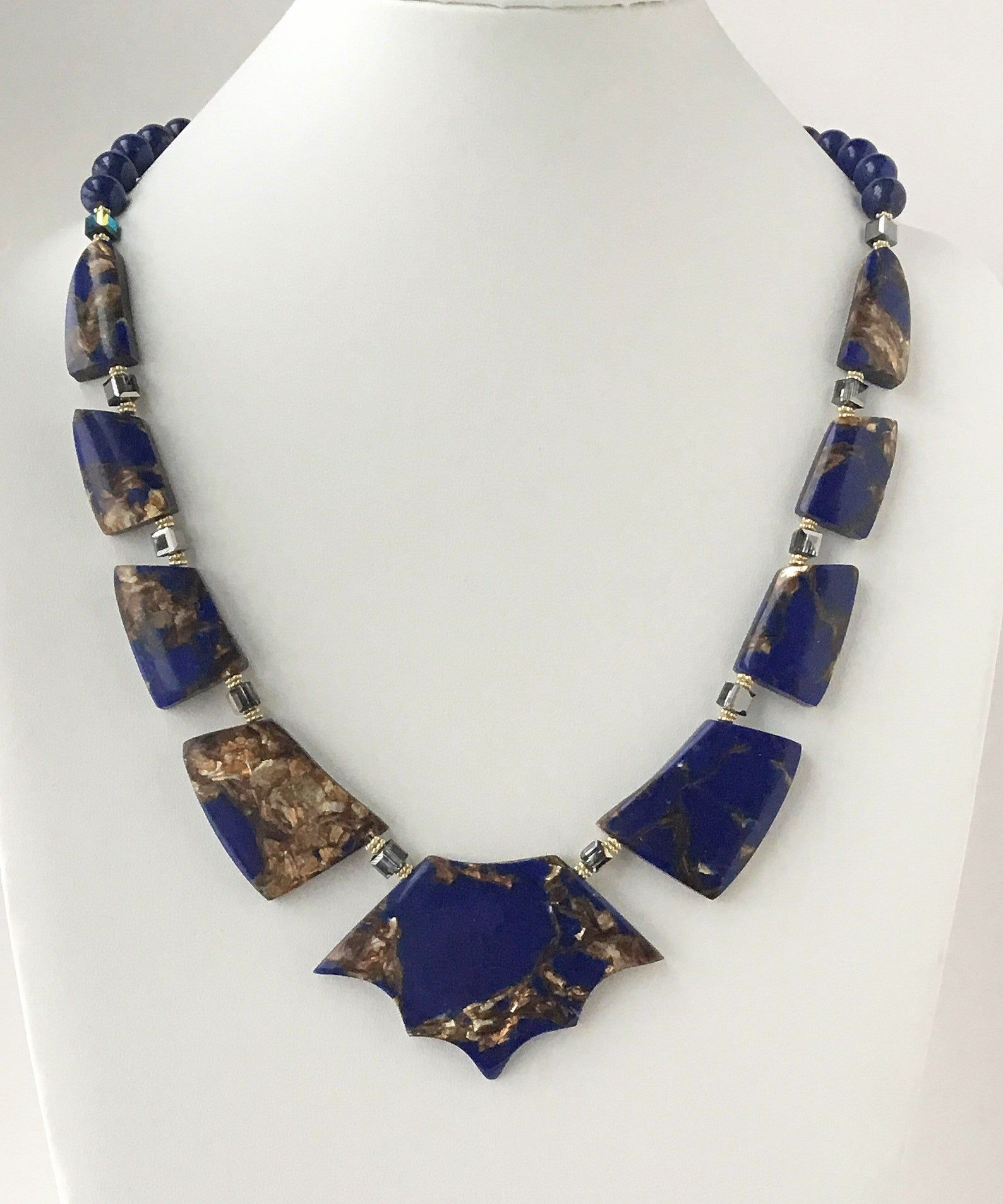 Silver Necklace Blue with White Agate Necklace Bib Necklace Statement Necklace Gemstone Necklace
