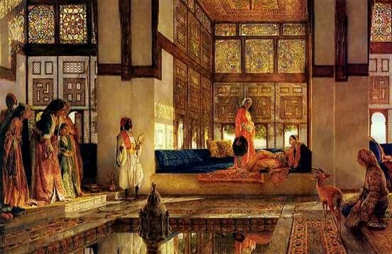 استقبال الضيوف عام 1873 للفنان الانجليزي جون فريدريك لويس Reception 1873 By John Frederick Lewis English 1805 187 Painting Islamic Paintings Oriental Art