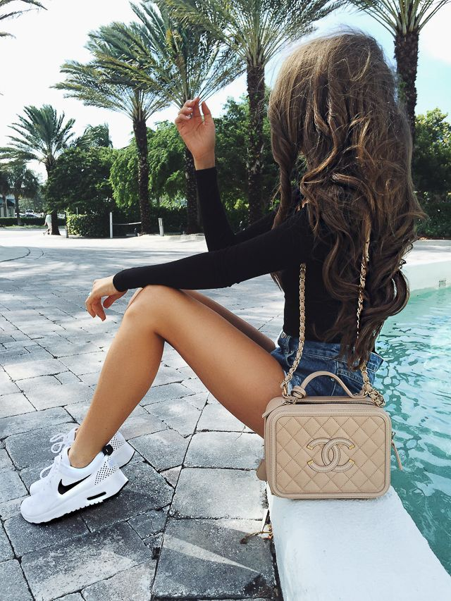 White Nike Tennis Shoes Chanel Bag