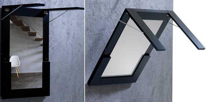 Una mesa plegable que se cuelga en la pared dormitorios matrimonio pinterest la vivienda - Mesa plegable pared ...