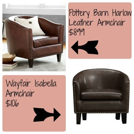 Pottery Barn Look Alike For The Harlow Leather Armchair