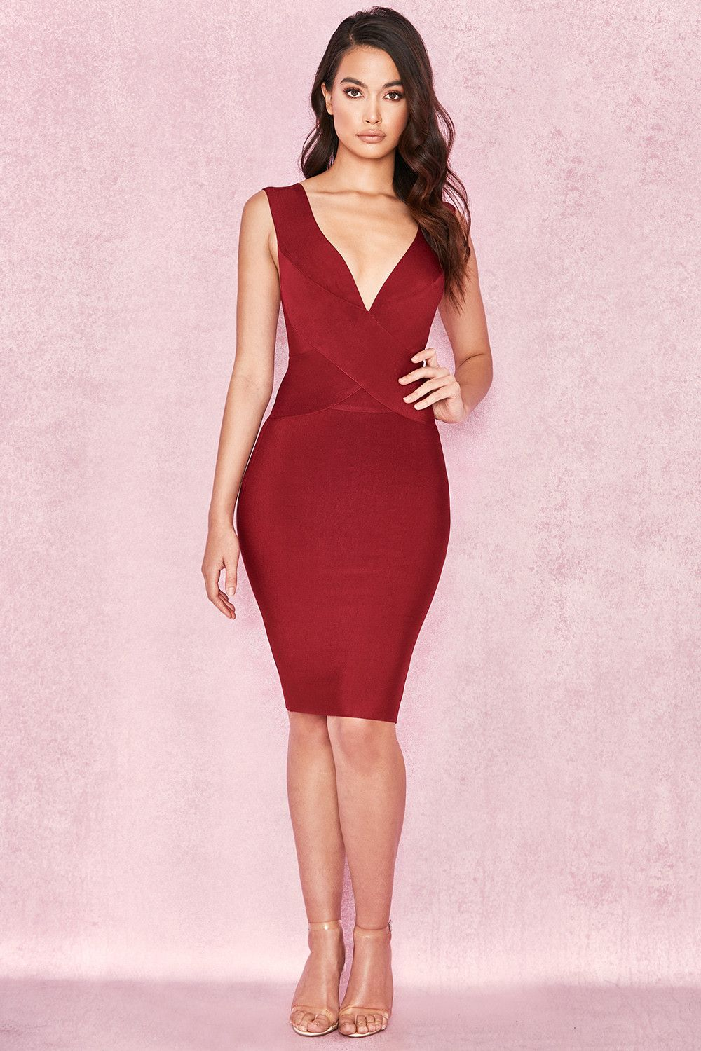 Harley Burgundy Midi Dress Bandage Dress Military Ball Dresses Burgundy Midi Dress