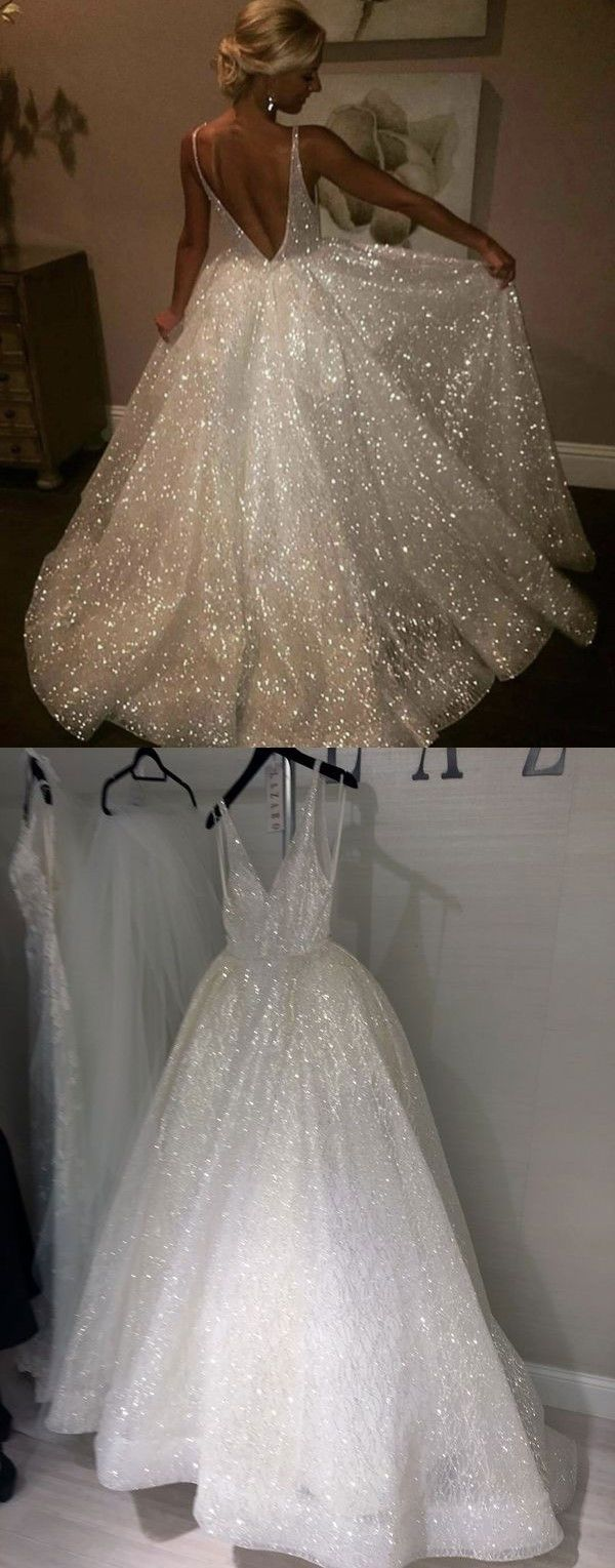 Pink sparkly wedding dresses  ALine VNeck Sweep Train Sleeveless Lace Wedding Dress with Sequins
