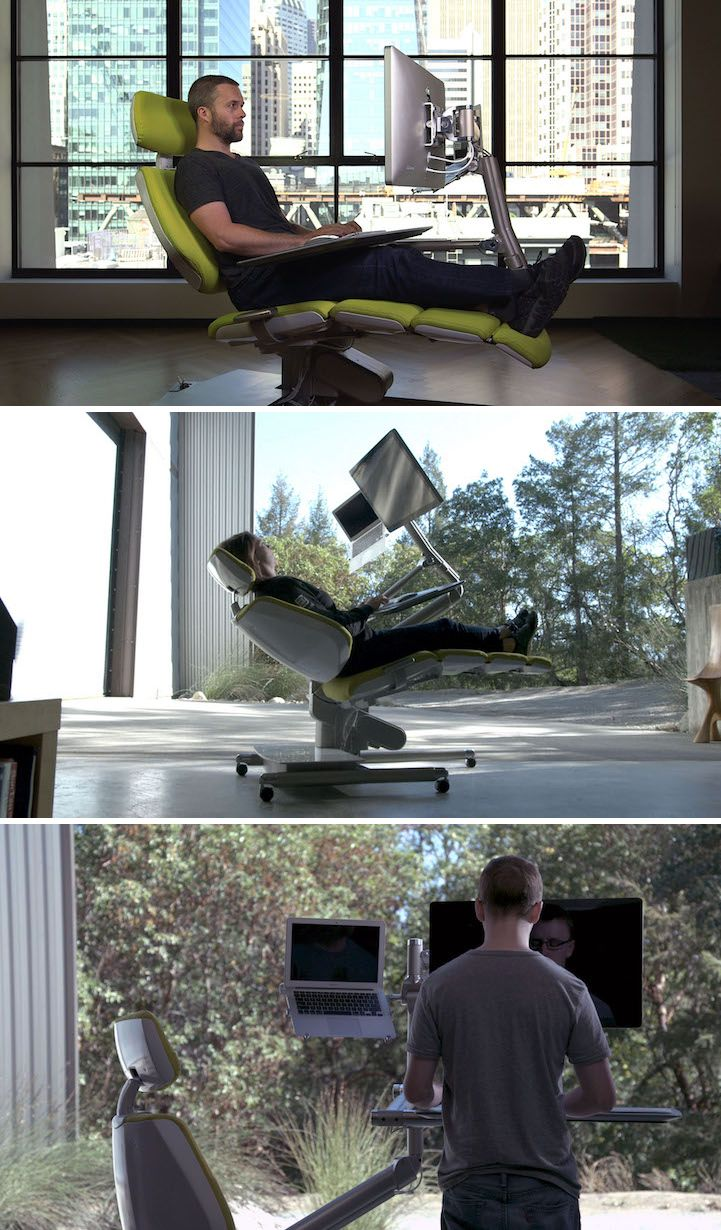 Futuristic Desk And Chair Station Is Fully Adjustable For