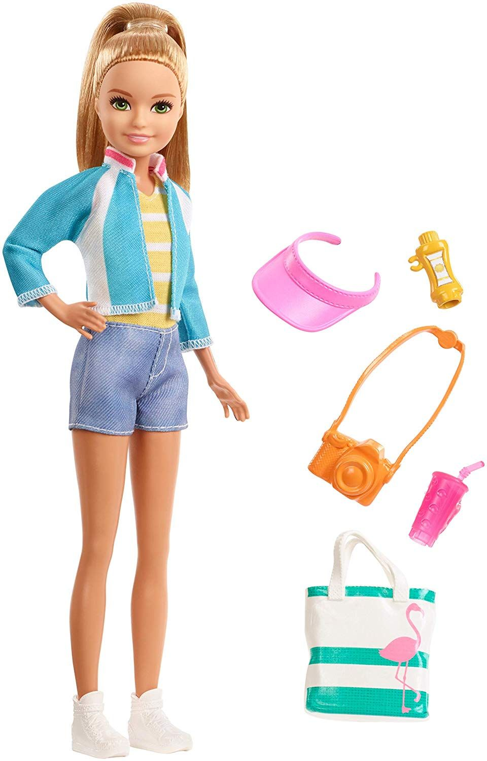 Accessories! New Barbie Chelsea Blonde Travel  Doll with Puppy Carrier and 5