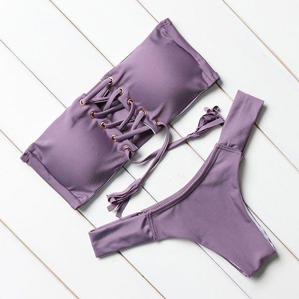 Solid Strapless Bikini Set – awashdress