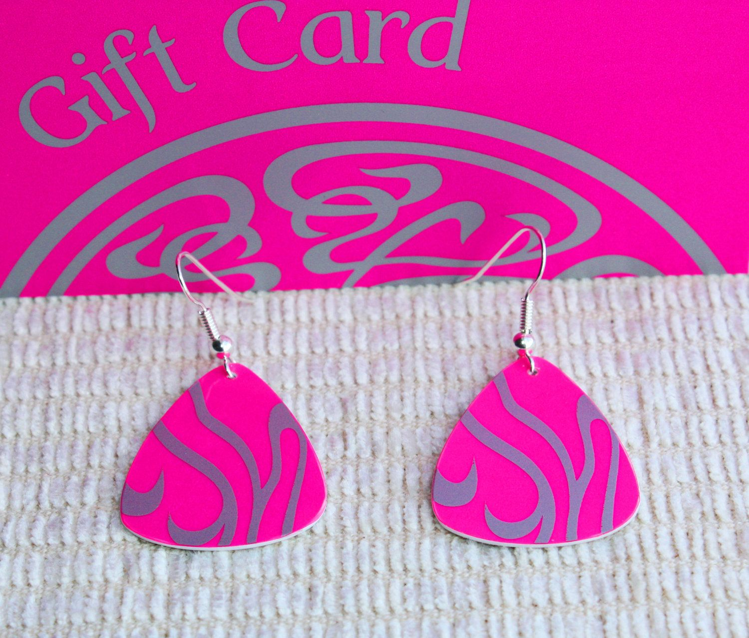 Guitar pick earring hot pink handmade from upcycled gift