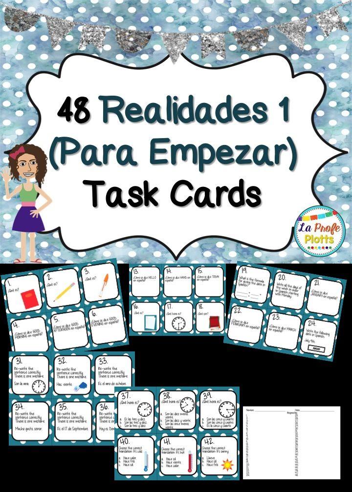 Printable Worksheets realidades 1 worksheets : Spanish Realidades 1: Para Empezar Task Cards | Textbook, Spanish ...