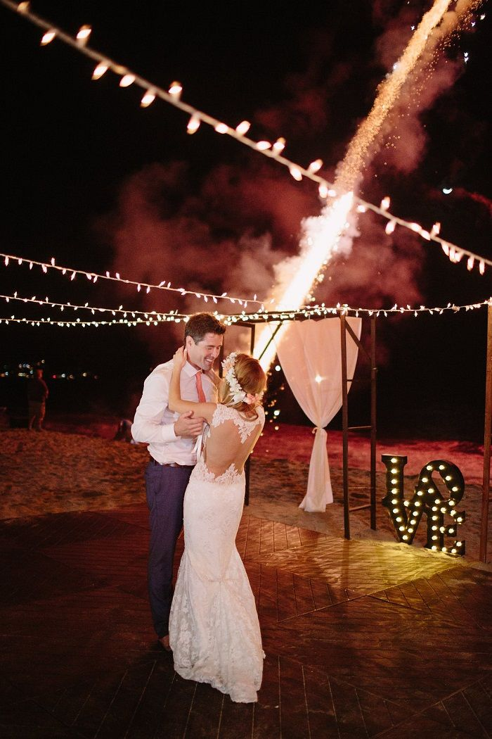 Fire work above the wedding dance floor | Bride and groom dance