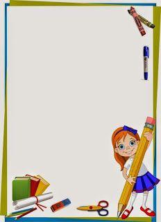 Caratula Para Cuadernos De Niñas De Kinder Niña Con Lápiz Caratula Para Niños Bordes Para Caratulas Marcos Para Caratulas