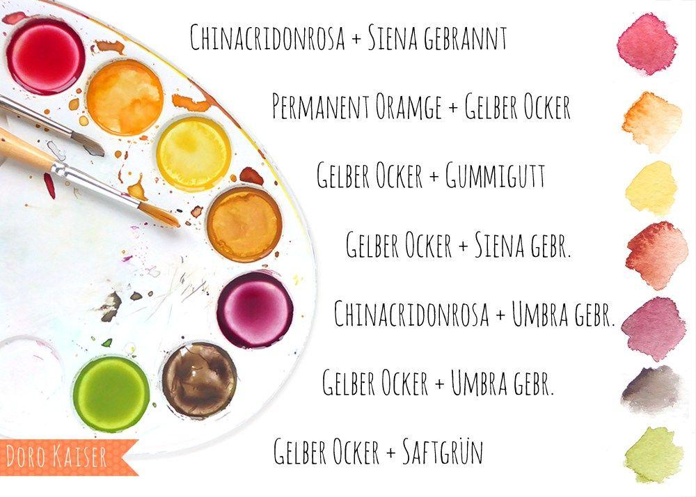 Malen lernen: Herbstblätter mit Aquarellfarben malen   Malen lernen ...
