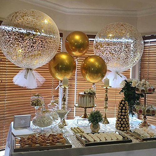 Gold And White Wedding Ideas: Amazon.com: Confetti Balloon Jumbo Latex Balloon Filled