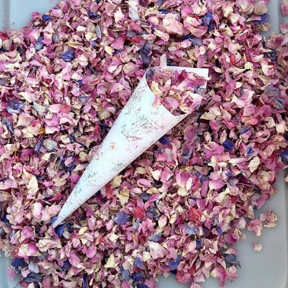 Make a colorful, and eco-friendly, confetti from dried flower petals.