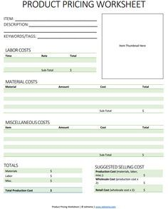 Product Pricing Worksheet This Guide Helps You Know How Much To