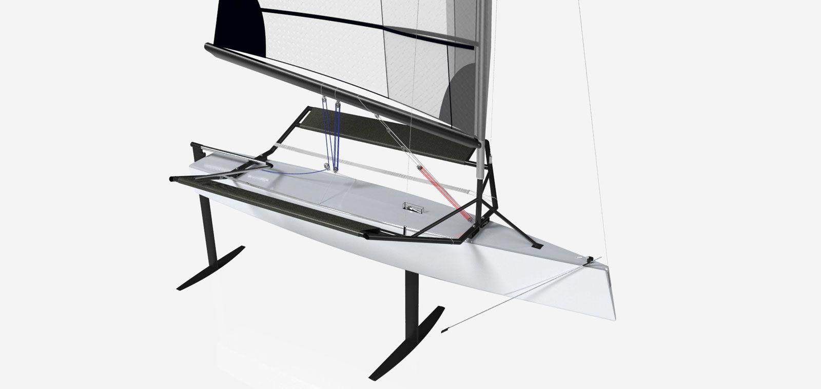 Hydrofoil Sailing Boat Prototype Rendering Car Body Design Design Sailing Yacht Design