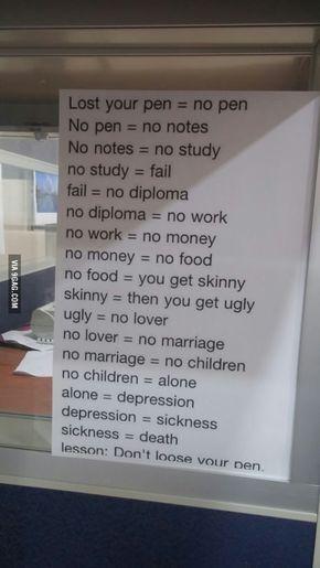 Don't lose your pen.