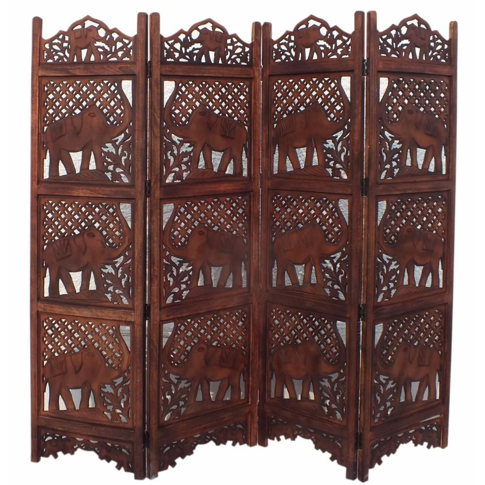 Benzara hand carved elephant design foldable panel wooden room