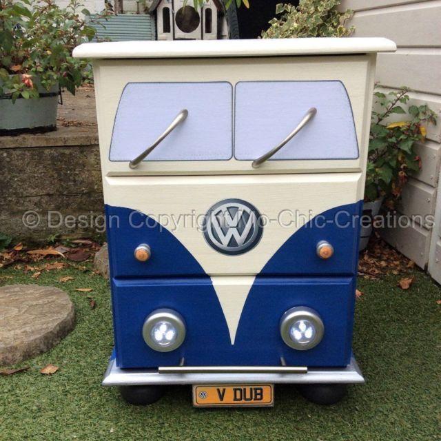 Blue VW Camper Van Style Chest Of Drawers Bedside Table Working Lights  Volkswagen