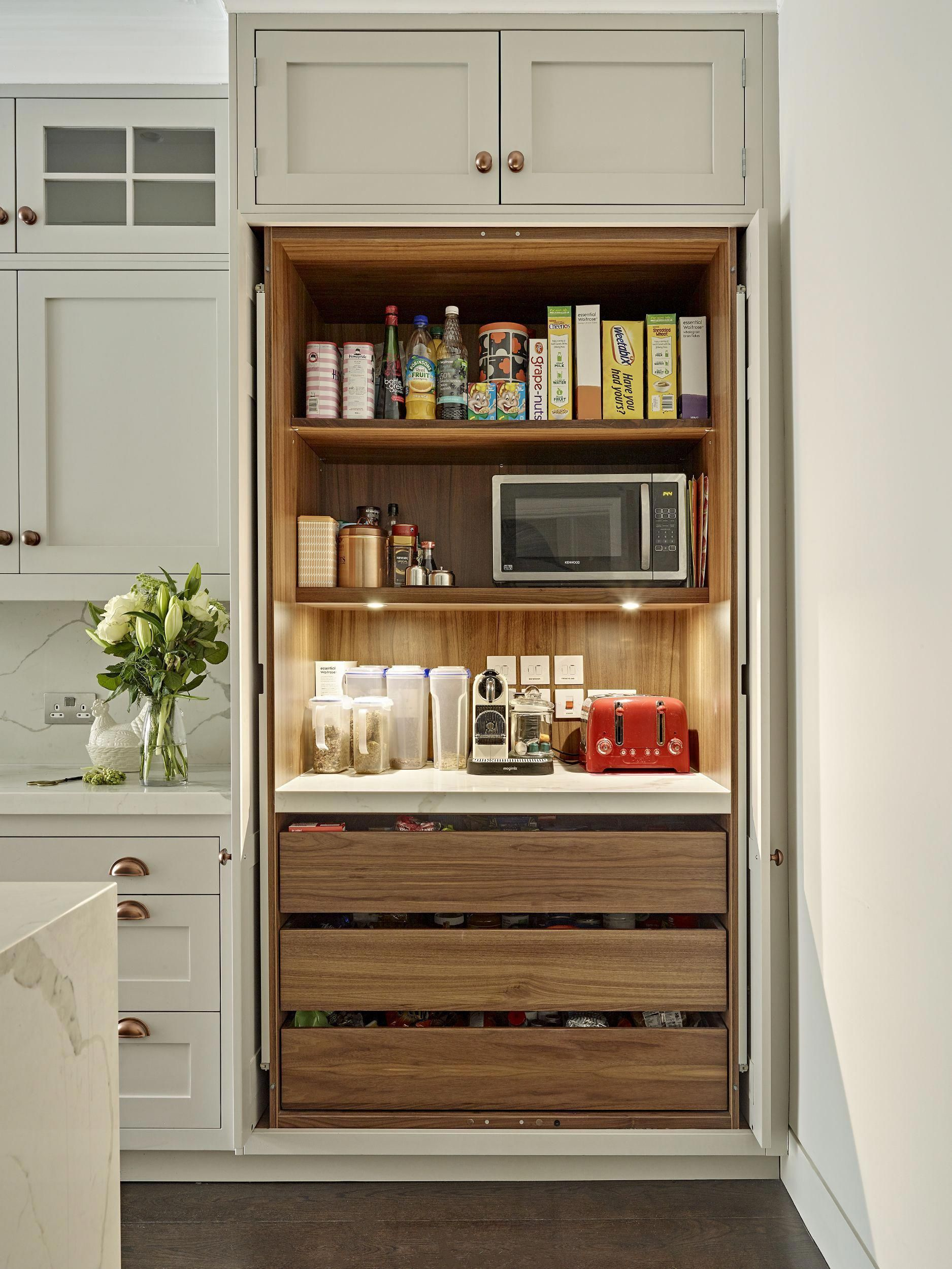 Breakfast Pantry Cabinet With Shelf Lighting Power Supply For Small Appliances And Worktop Little Kitchen Design Plans Kitchen Remodel Small Kitchen Design