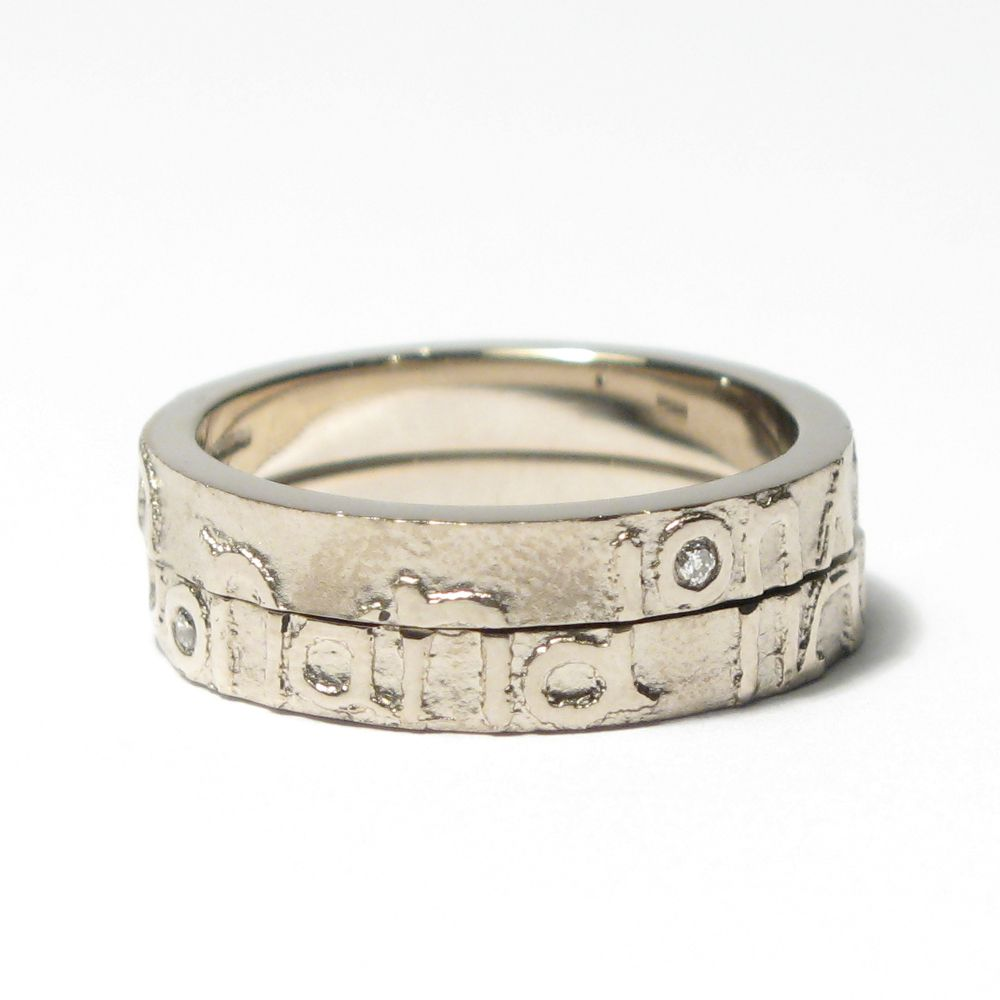088b6503d95bc Diana Porter - 'on and on' pair of etched rings with diamonds AORbD ...