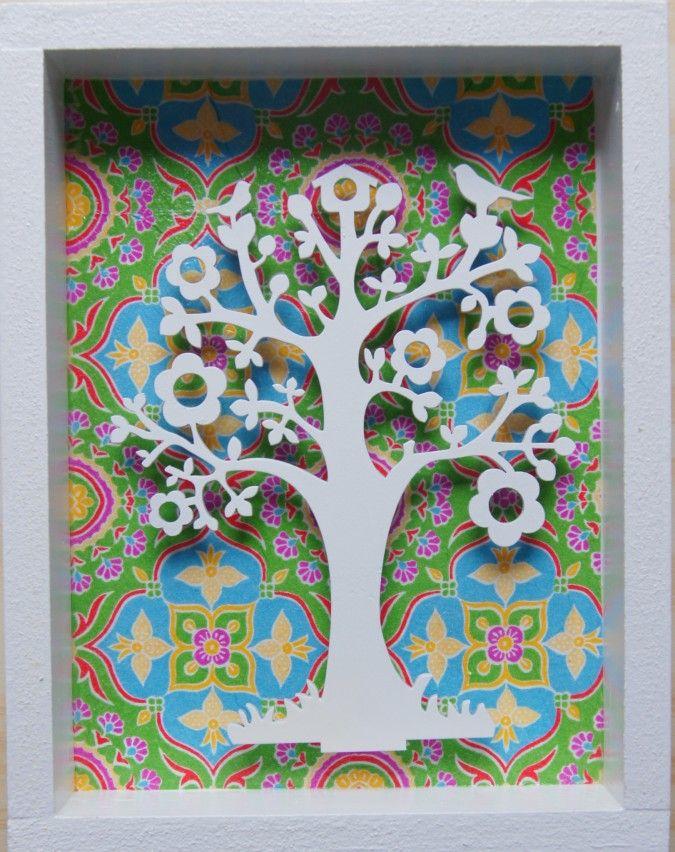 Cuadros decorativos confeccionados en madera con figuras caladas en