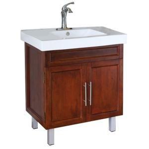 Bellaterra Home Flemish W 32 In Single Vanity In Walnut With Porcelain Vanity Top In White Single Sink Vanity Vanity Bathroom Vanity Tops