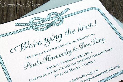 Tying The Knot Cruise Ship Wedding Invitations
