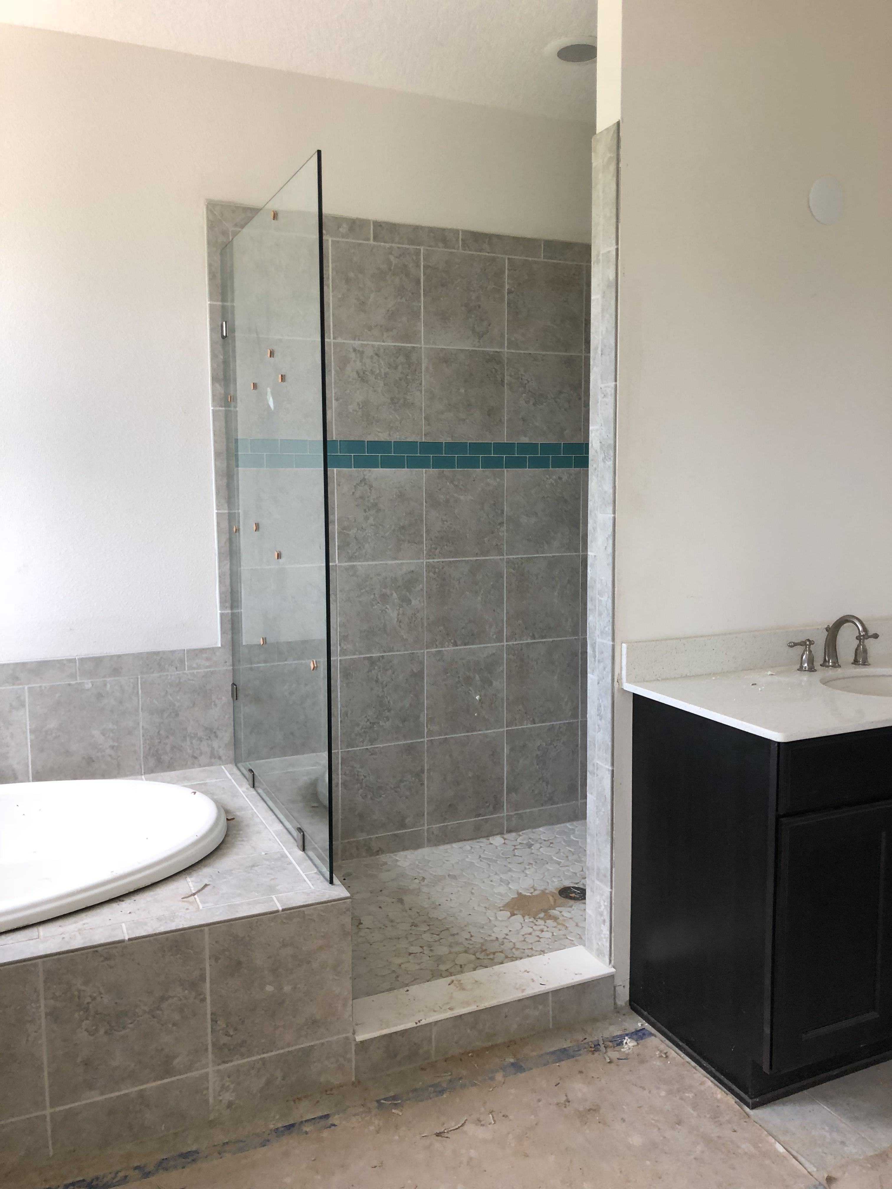 Custom designed and personalized master bathroom. With large walk in ...
