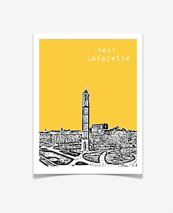 West Lafayette Indiana Poster - City State Skyline Art Print - Purdue University - 8x10
