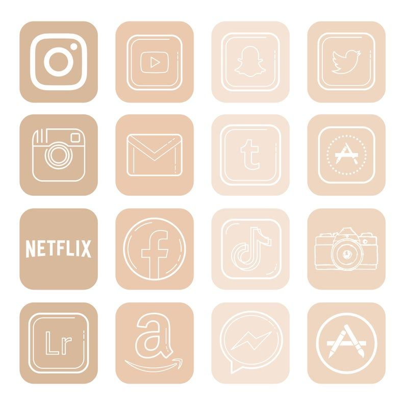 200+ beige app icons for IOS 14 Update. minimalist