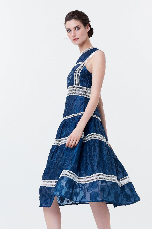 Ipekyol Lacivert File Seritli Kolsuz Midi Elbise Elbisebul Midi Elbise Elbise The Dress