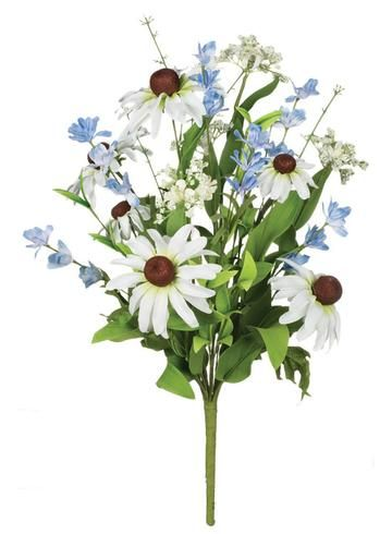 Mixed Black Eyed Susan Faux Wildflower Bush In Blue And White 19in Tall