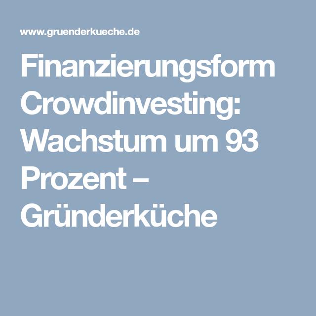 Finanzierungsform Crowdinvesting Wachstum um 93 Prozent