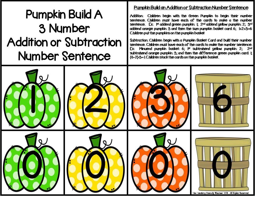 Pumpkin Build 3 Addend Addition Amp Subtraction Number