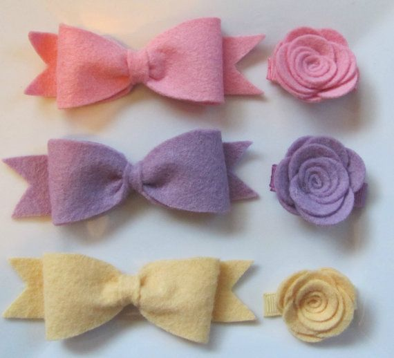Baby Hair Clips  Set of 3 Felt Bow and Rose by TurtleTotsDesigns, $18.00