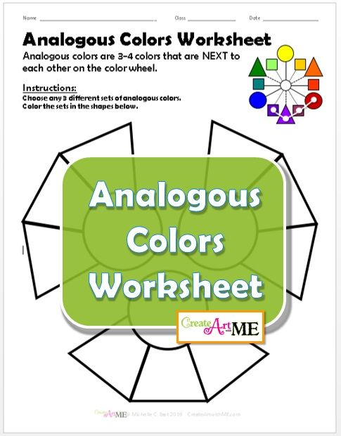 Analogous Colors Worksheet Students Will Explore Creating Different Color Combinations Print On