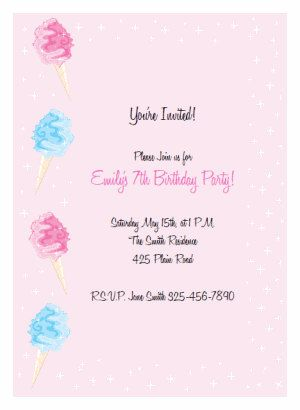 Printable Pink Cotton Candy Invitation Kit Birthday Party