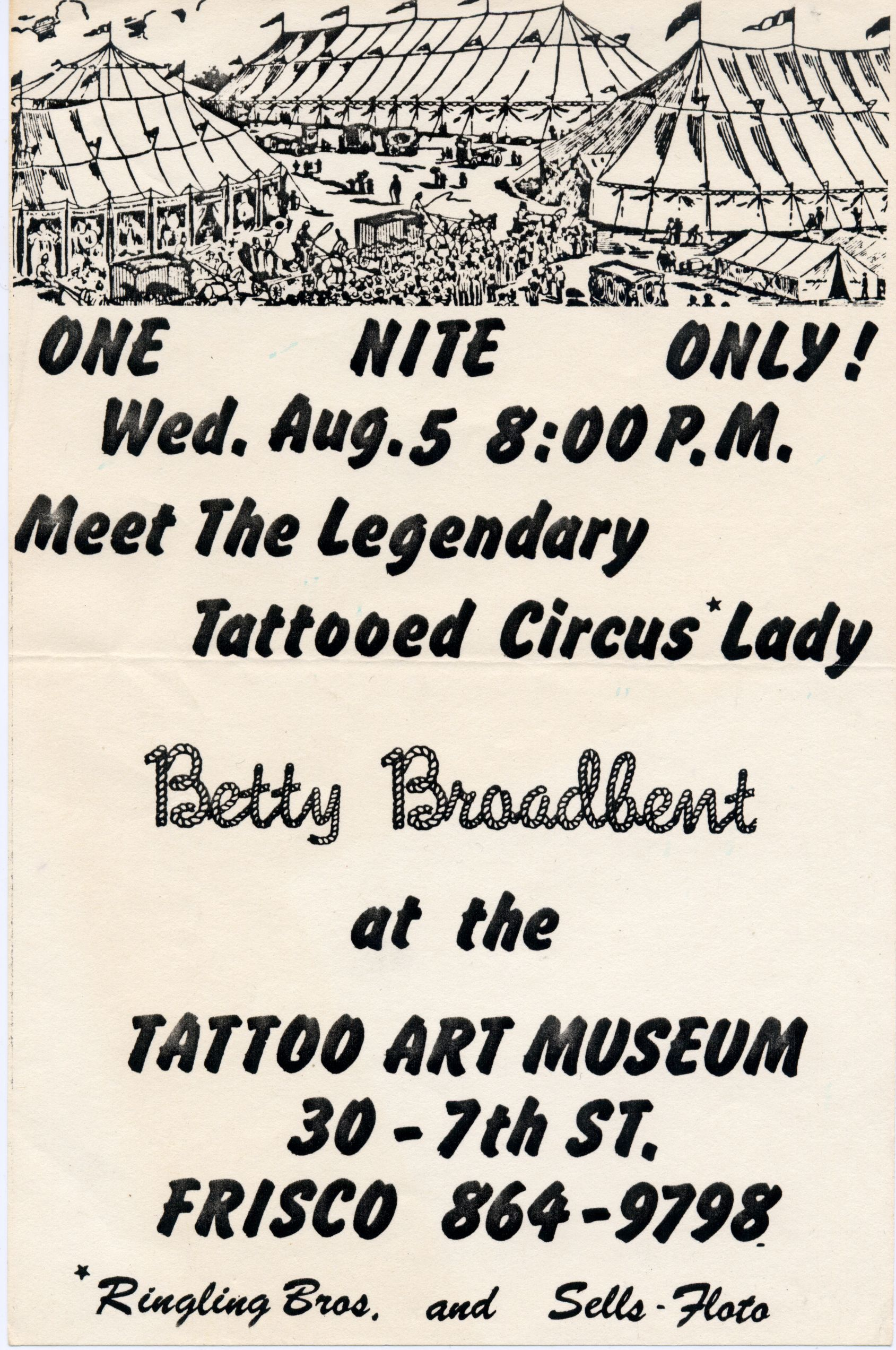 betty broadbent | betty broadbent-advertisement for her upcoming circus show.