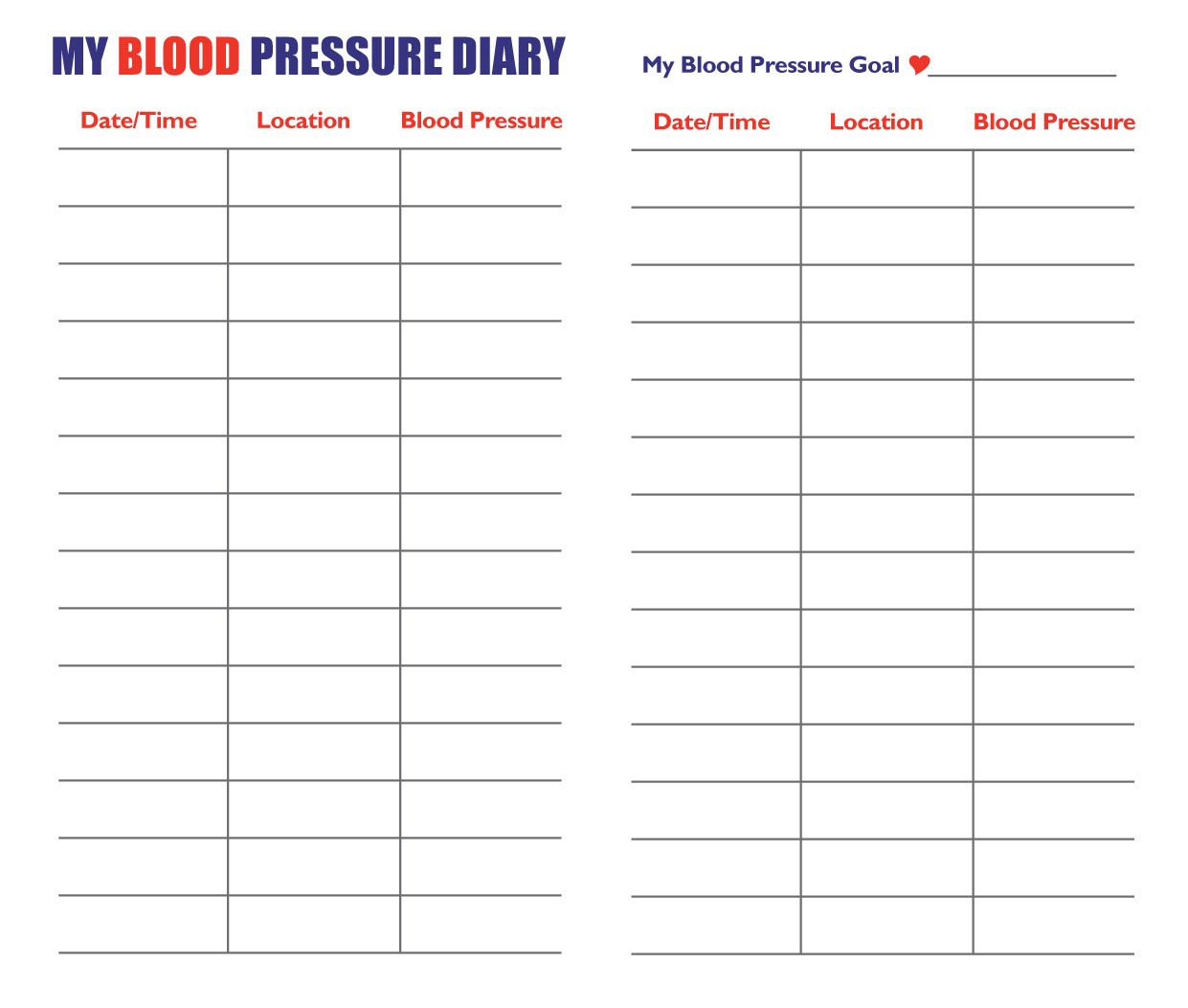 printable log sheet blood pressure chart