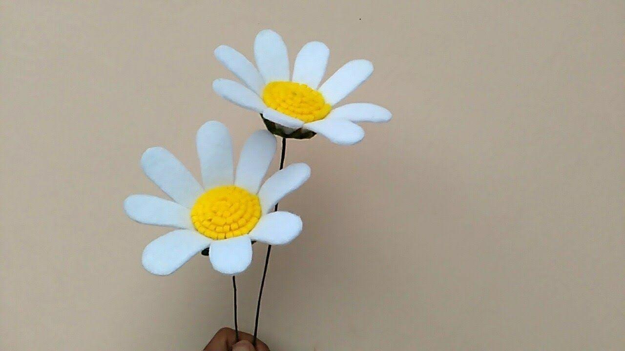 Diy Felt Flowers Daisy Cara Membuat Bunga Flanel Daisy Felt Flowers Diy Felt Flowers Fabric Flowers Diy