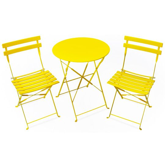 Un salon de jardin pliant jaune mat 2 personnes au look bistrot ...
