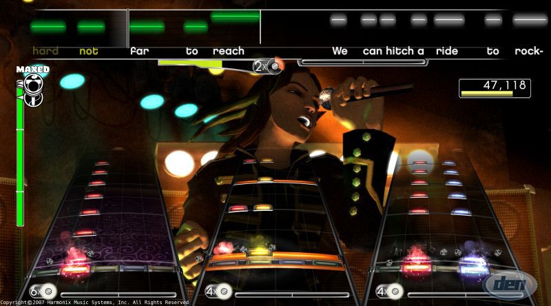 The HUD for the game Rock Band 3 can be seen, which shows