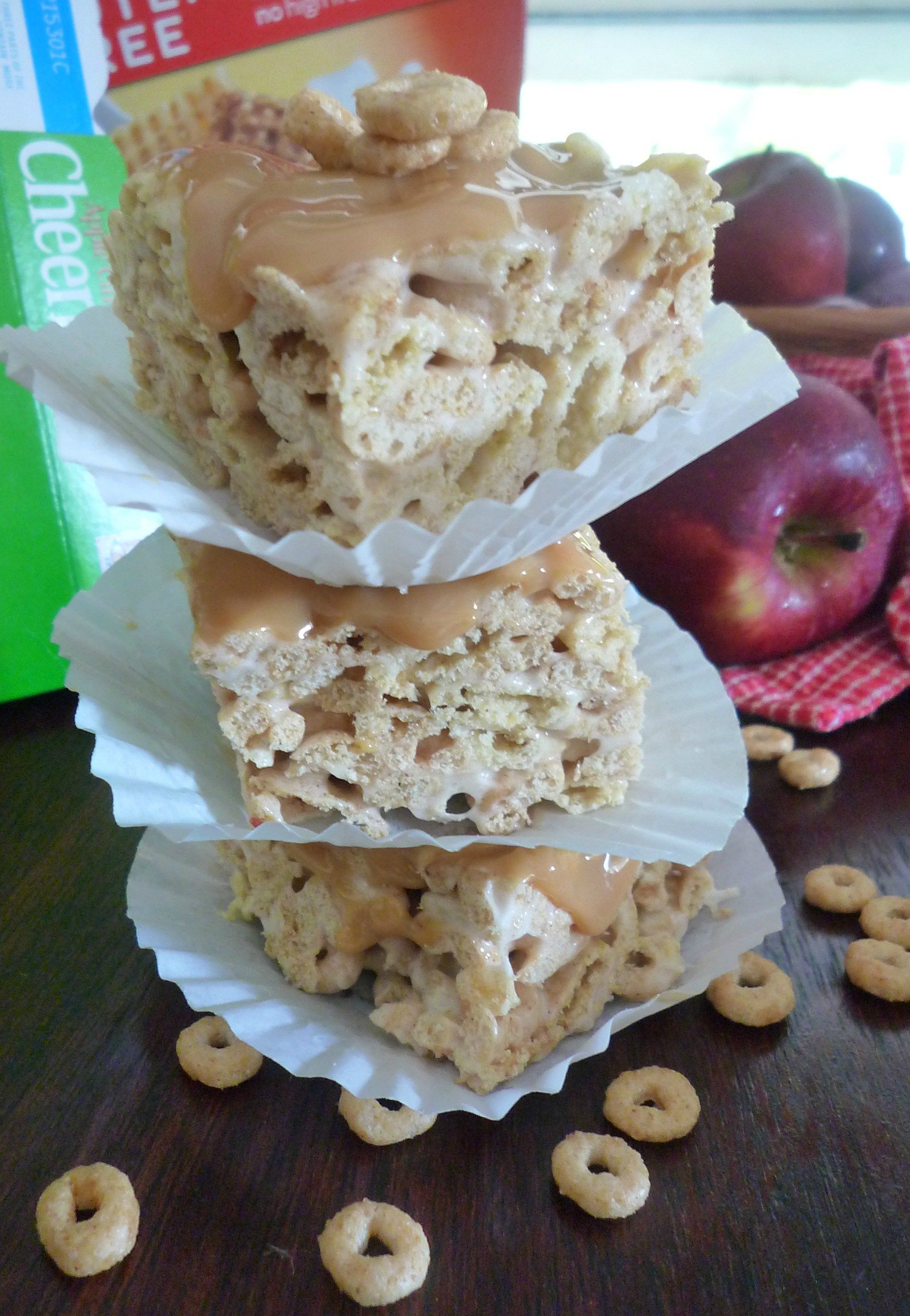 My delicious glutenfree caramel apple cheerio treats are