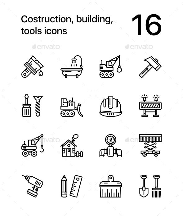 Construction, Building, Tools Seamless Vector Outline