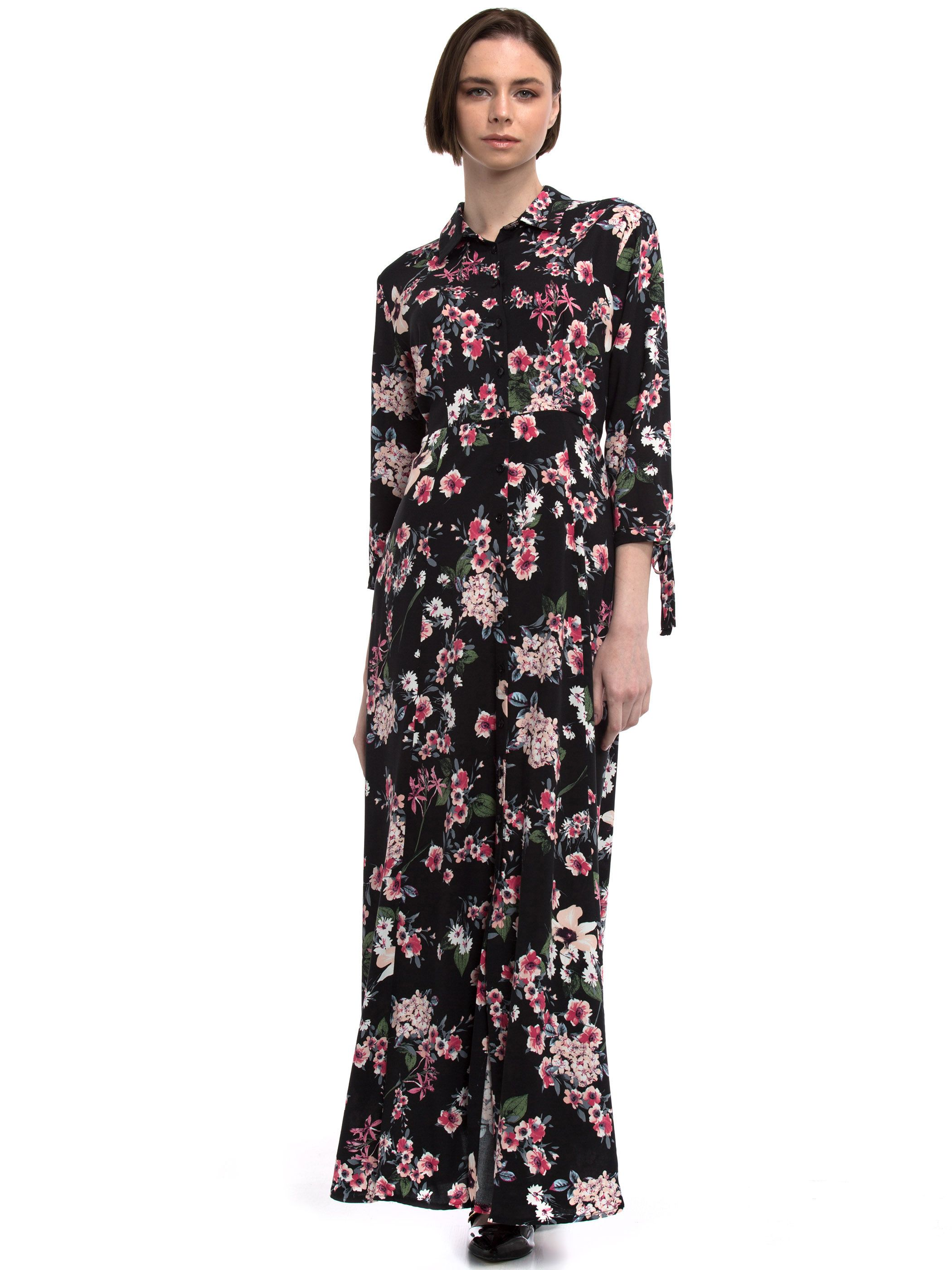 Black Long Patterned Long Sleeve Dress 7yb851z8 760 Lc Waikiki Dresses Long Sleeve Dress Fashion