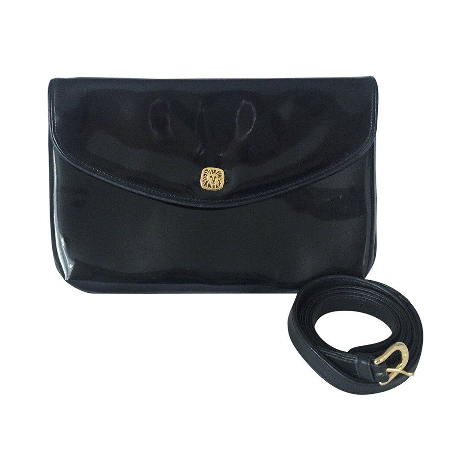 ac0dd073b903 1980s Vintage Anne Klein for Oroton Black Patent Leather Clutch   Crossbody  Bag